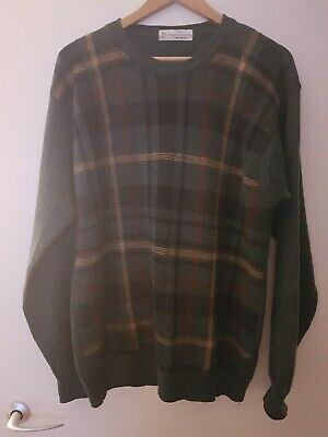 St Michael Vintage Lambswool Jumper, Sweater, Green Check, Warm, Golfing,...