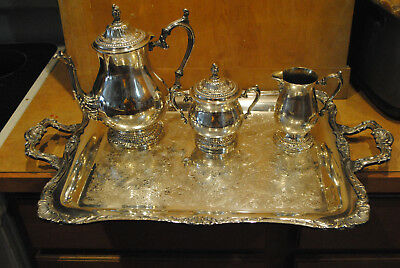 Wm Rogers Silver Plate Coffee Tray set- pot, cream, sugar, lid 402 403 404 290