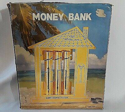 Vintage Money Counter Bank BRASS COIN SORTER First National Bank AMS TAIWAN Box