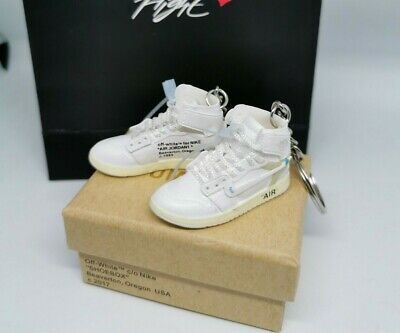 JORDAN 1 OFF WHITE CHICAGO MINI 3D SNEAKER KEYRING WITH BOX FAST DISPATCH