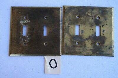 O 2 Vintage  Antique Brass Double Toggle Wall Light Switch Plate Cover