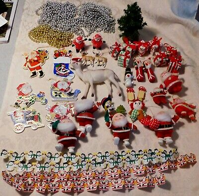 Vintage Christmas Lot Decorations Ornaments Flocked Wooden Santas Deer & More
