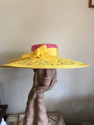 Wendy White Millinery Melbourne Cup Hat Large Brim Hot pink And Yellow