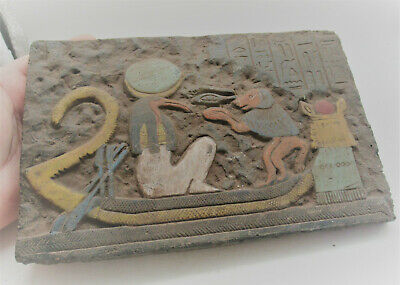 Superb Ancient Egyptian Stone Relief Plaque Boatman And Heiroglyphics Rare