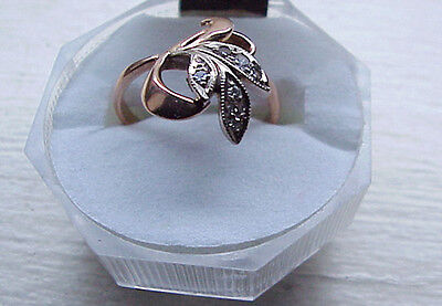 Vintage Beautiful 585 Rose Gold Russian Soviet Ring with Natural Diamonds~Size 7