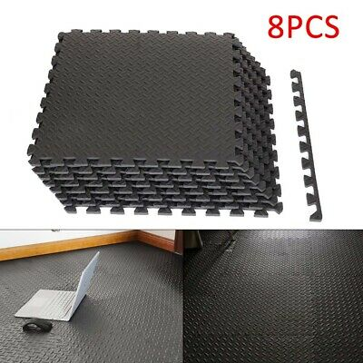 Black Interlocking Mat Yoga Exercise Gym Fitness Gymnastics Soft Foam Floor Mats