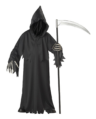 Adult Mens Grim Reaper Costume Halloween Scary Horror Dark Black Robe Horror