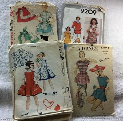 LOT OF 4 Original Vintage APRON Sewing Patterns - 1940s to 1970s COMPLETE