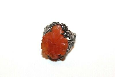 Antique CHINESE EXPORT Carved Lotus Flower Carnelian Sterling Silver Split Ring