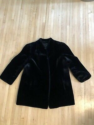 Vintage Beekman Place New York Faux Fur Coat Black Sz Small W/ Eye Hook Closure