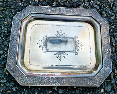 Extremely Rare Antique Middletown Plate Co. Ornate Hard White Metal Tip Tray