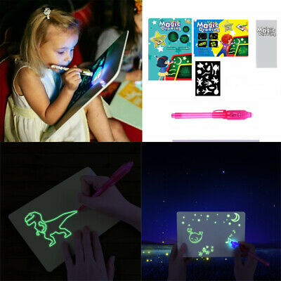 Draw With LED Drawing 3 Styles Board Fun Developing Kids Educational Magic Paint