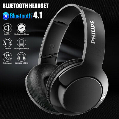 Philips Bass+ Bluetooth Over-Ear Headphones Wireless with Mic Noise Isolating BK