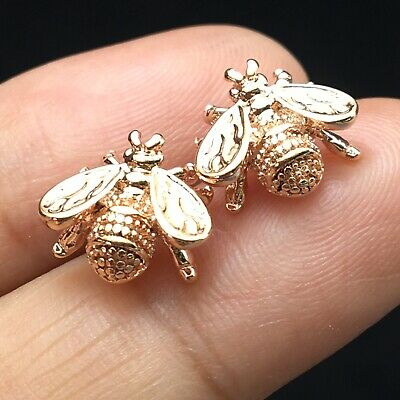 10mm Insect Fly Rose Gold Earrings Post Stud Small Mini For Womens Men Punk Rock