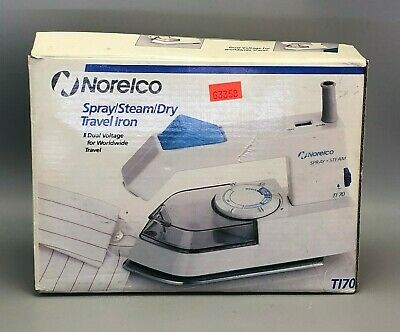 NIB Norelco Travel Iron Steam Dry Spray Folding Handle Dual Voltage Model T170