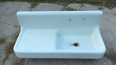 "Antique Standard Cast Iron FARM SINK 52"" High Back Single Bowl Drain Board 1900s"