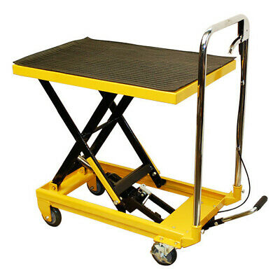 "32""W x 17-1/2""W Mobile 330LB Heavy Duty Hydraulic Table Lift 9"" To 28"" Jack Cart"