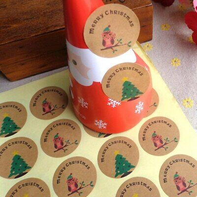 24pcs - Kraft Merry Christmas Xmas Stickers/Labels/Seals