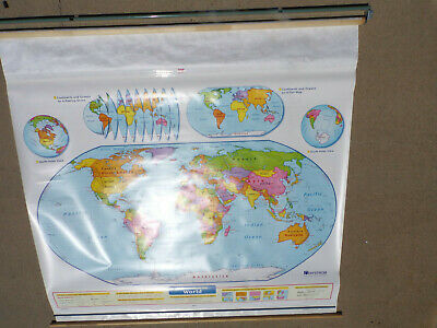 Nystrom Pull Down Map Used Nystrom Physical Globe US & World Colorful - 2 Layer