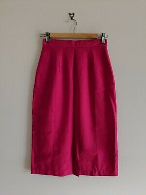 2x Vintage Pink Pencil Skirts - pale pink polka dot and hot pink - fits size 6-8