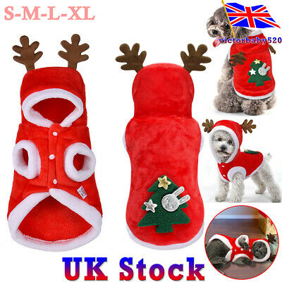 UK Pet Cat Dog Christmas Outfit Costumes Reindeer Hoodie Dress Xmas Clothes Coat