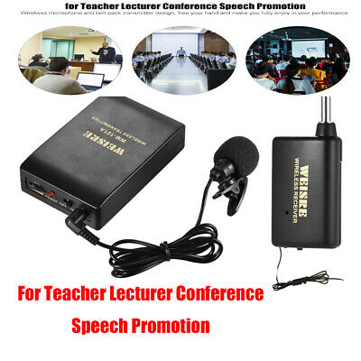 Professional FM Transmitter Wireless Microphone Headset Clip On Mic Receiver