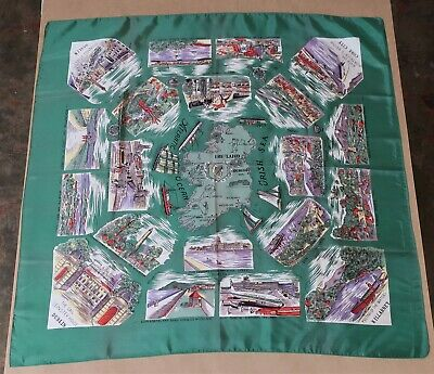 BEAUTIFUL VINTAGE SATIN SCARF 1960s SCENES OF IRELAND SOUVENIR