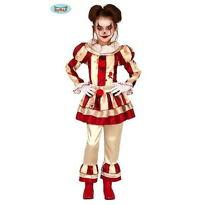 Costume Pagliaccia Assassino Carnevale Vestito Halloween Clown Bambina Guirca