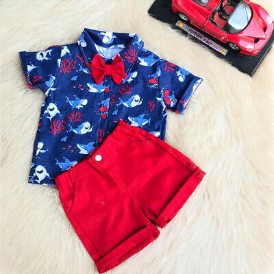 AU 2pcs Toddler Baby Boy Animal Clothes T-shirt Tops+Short Pants Summer Outfit