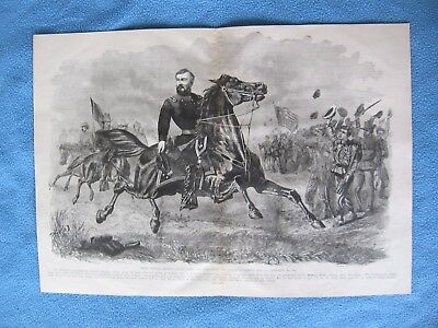 1885 Civil War Print - General Sheridan Riding Along the Lines of Federal Army