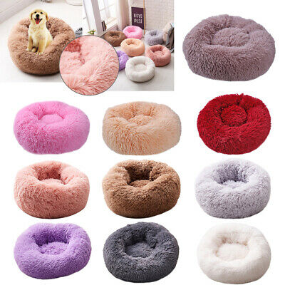 Pet Dog Cat Calming Bed Warm Soft Plush Round Cute Nest Comfortable Sleeping !