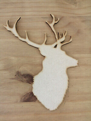 Wooden MDF Stag Deer Head Shape 3mm Thick Tags Embellishments Decoration Craft
