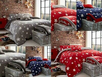 Teddy Bear Fleece Star Duvet Cover Set Printed Cozy Warm Winter Bedding