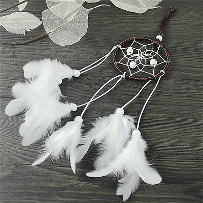 Dream Catcher With White Feather Beads Wall Hanging Decor Craft Car Ornament_fq