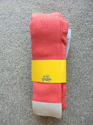 Mini Boden Girls Footless Tights 2pk Red and Grey Sparkle Trim BNWT   76/34