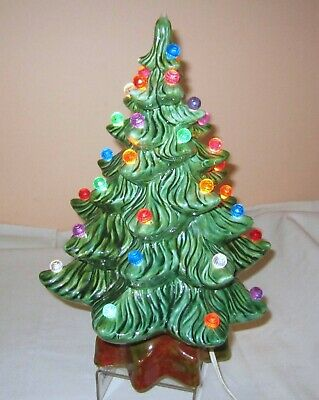 Vintage Green Ceramic Christmas Tree With Lights
