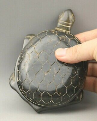 Chinese old natural jade hand-carved statue dragon tortoise inkstone 5.3 inch