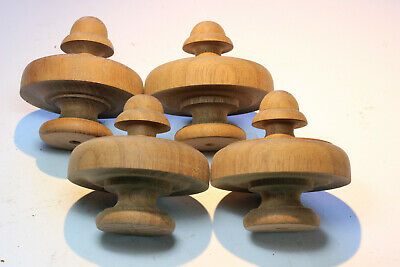4 Vintage Hand Turned Mahogany Finials