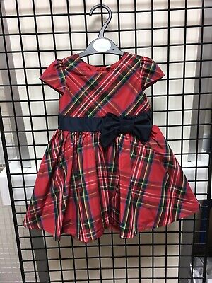 Beautiful Red Tartan Party Dress W/Navy Bow Ideal Christmas