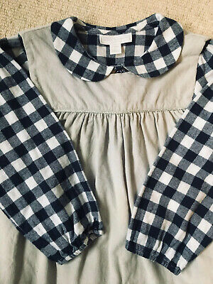 Little White Company Age 3-4 Gingham Blouse And Cord Pinafore Set Excellent Cond
