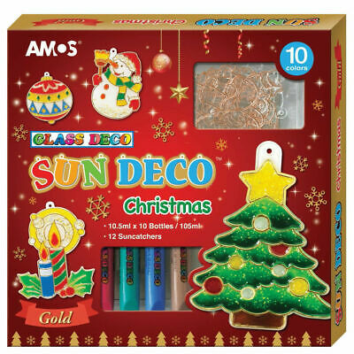 AMOS Glass Deco Art Craft Kit CHRISTMAS 10 Colours 12 GOLD Suncatcher