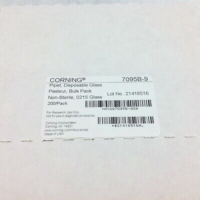 Corning 7095B-9 Disposable Glass Pipet Pasteur Bulk Pack Non-Sterile 0215 200pk