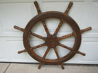 "Antique Huge 1920's Wood & Iron Ship's Helm Steering Wheel 44"" Maritime Salvage"
