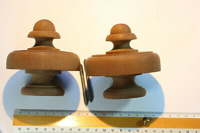 Pair Vintage Hand Turned Mahogany Finials