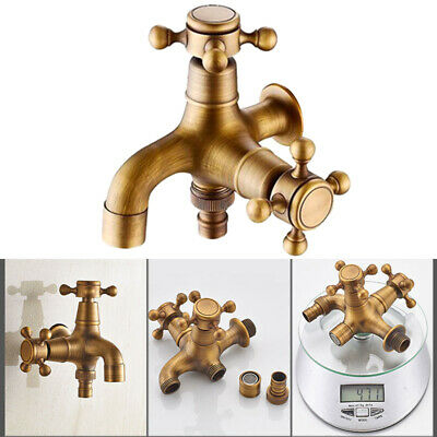 Cross Handle Water Tap Antique Brass Faucet Garden Home Wall Mounted Tap US