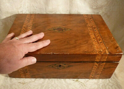 Large Antique Victorian Walnut Parquetry Writing Slope Storage Box - To restore