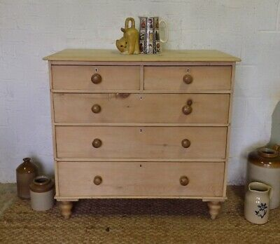Old Pine Victorian Chest of Drawers   Stripped Pine