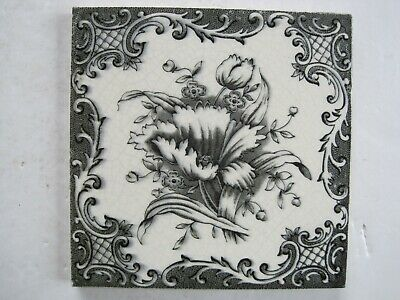 "Antique Victorian 6"" Black/Grey Floral Transfer Print Wall Tile - T & R Boote?"