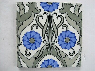 ANTIQUE MINTON HOLLINS AESTHETIC PRINT & TINT FLORAL WALL TILE c1875-1910