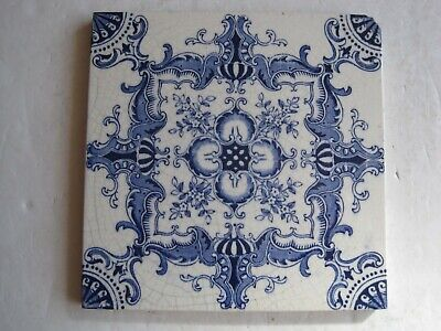 Antique Victorian Aesthetic Blue On White Transfer Print Tile - T & R Boote